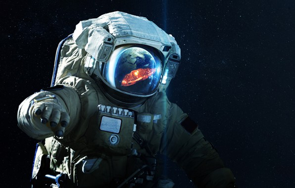 Picture Reflection, Stars, The suit, Space, The explosion, Earth, Astronaut, Costume, Astronaut, Art, The end, Stars, …