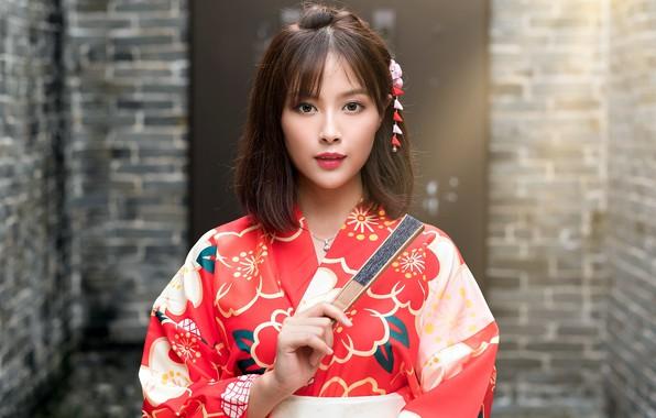 Picture girl, fan, kimono, Asian, cutie