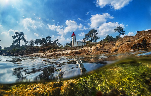 Picture landscape, nature, river, France, lighthouse, The lighthouse of Sainte-Marine, Odet