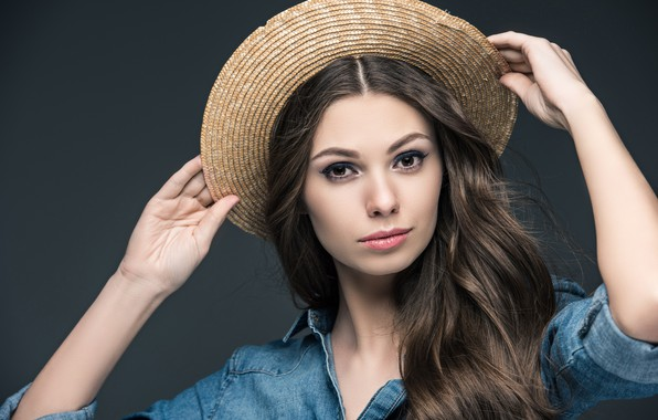 Picture look, pose, background, portrait, hat, makeup, hairstyle, shirt, brown hair, beauty, bokeh, denim