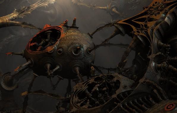 Picture steampunk, blender, engine