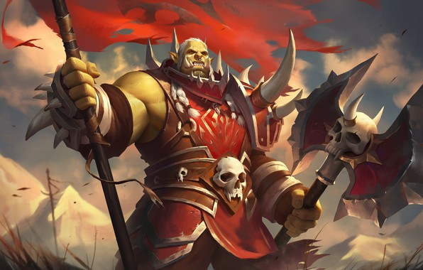 Picture armor, axe, Orc, art, banner, World of WarCraft, orc, Horde, Horde, The battle for Azeroth, …