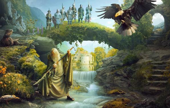 Picture landscape, soldiers, the elder