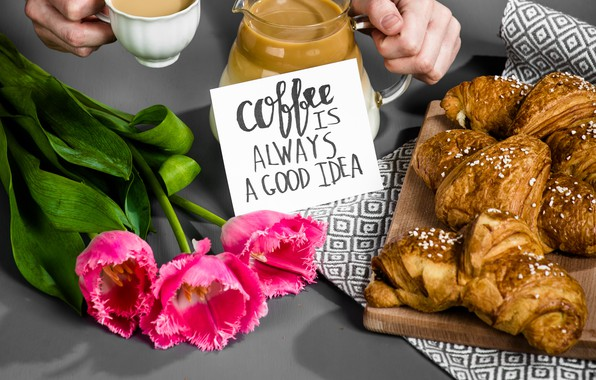Picture coffee, Breakfast, Cup, tulips, pink, cup, tulips, coffee, good morning, croissants, growing, breakfast