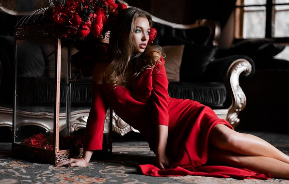 Picture girl, flowers, pose, red dress, Pavel Ermakov