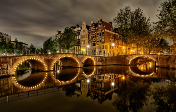 Picture summer, the sky, water, clouds, light, trees, landscape, night, yellow, bridge, lights, reflection, river, street, …