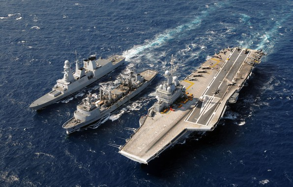 Picture The ocean, Wave, The carrier, Dassault Rafale, Rafale M, French Navy, Charles de Gaulle (R91), …