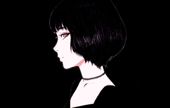 Picture face, haircut, black and white, mole, in profile, bangs, portrait of a girl, Ilya Kuvshinov, …