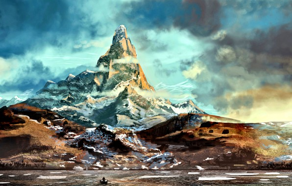 Picture art, The Hobbit, Erebor, Middle earth, Lonely Mountain