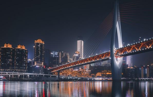 Picture city, lights, bridge, night, skyscrapers, Asia, Chongqing