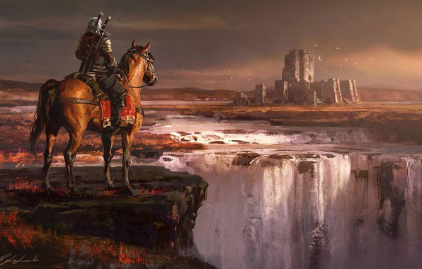 Picture Horse, Night, Waterfall, Forest, Castle, Warrior, Fantasy, Art, Fiction, Geralt, Castle, Witcher, Geralt of Rivia, …