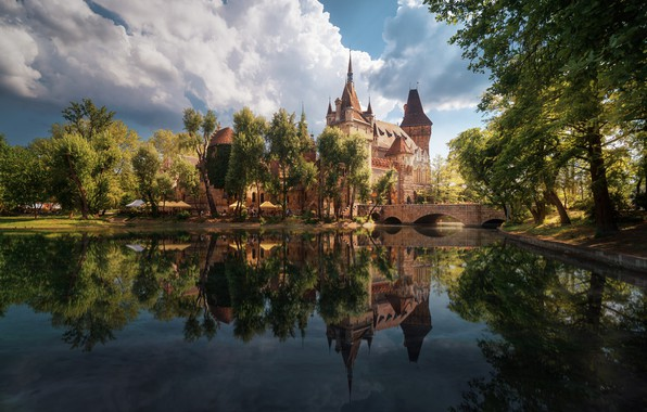 Picture the sky, water, clouds, bridge, the city, pond, river, castle, Spring, Budapest, turysty