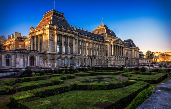 Picture the sky, the sun, design, lawn, Belgium, Brussels, the bushes, Palace, Brussels, Royal Palace