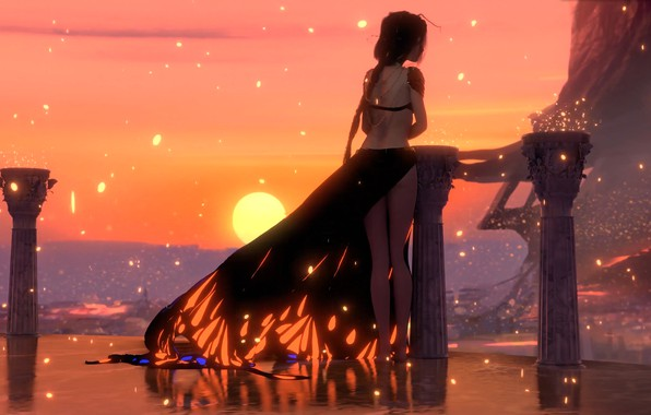 Picture girl, fantasy, dress, sunset, sun, digital art, artwork, princess, fantasy art, columns, fantasy girl, bare …