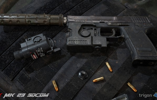 Picture rendering, gun, Weapons, gun, pistol, weapon, render, muffler, render, Tactical, 3d art, Heckler Koch, HK …