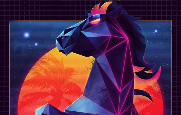 Picture retro, horse, neon, synthwave, retrowave