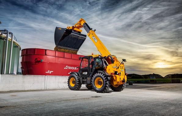 Picture the sky, cabin, concrete, wheel, bucket, unloading, JCB, loader, telehandler, JCB Loadall 560-80 Agri Pro, …