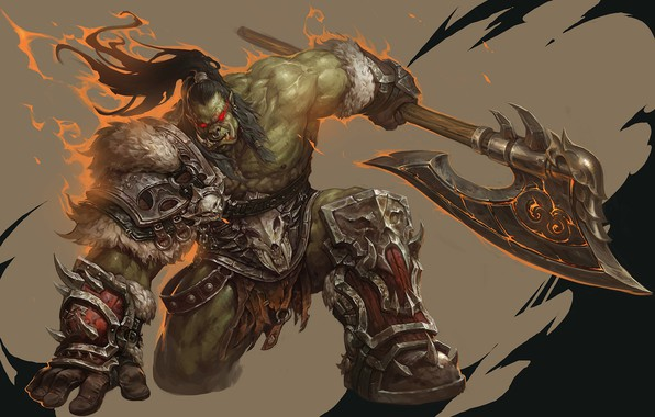 Picture fantasy, art, WOW, Blizzard, Art, Orc, Warcraft, Orc, WarCraft, Grom Hellscream, Grom Hellscream, WenXu Xu