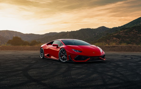 Picture mountains, red, Lamborghini Huracan