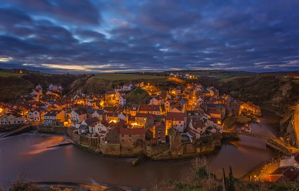 Picture river, England, building, home, village, panorama, town, England, North Yorkshire, North Yorkshire, Staithes, States, Roxby …
