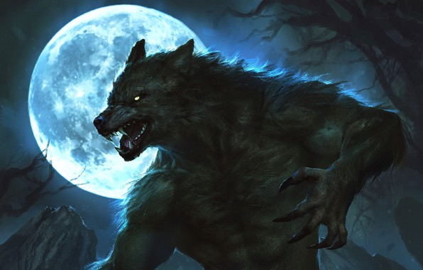 Picture night, the moon, claws, moon, werewolf, lycanthrope, night, wolf, lycan, werewolf