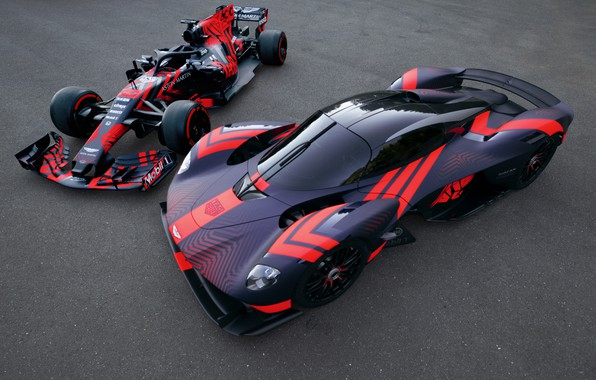 Picture Aston Martin, the car, track, Formula 1, hypercar, Valkyrie, Red Bull Racing