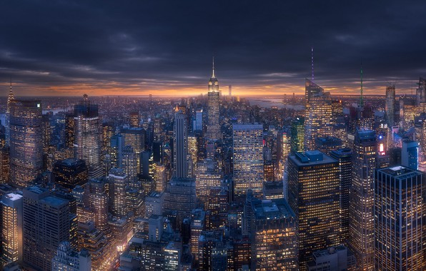 Picture the city, lights, home, the evening, USA, New York, New York, New York, New - ...