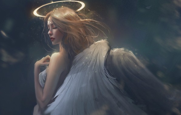 Picture lights, grey background, halo, angel, tail, closed eyes, white wings, sideways, shoulder, girl-angel, by Trung …