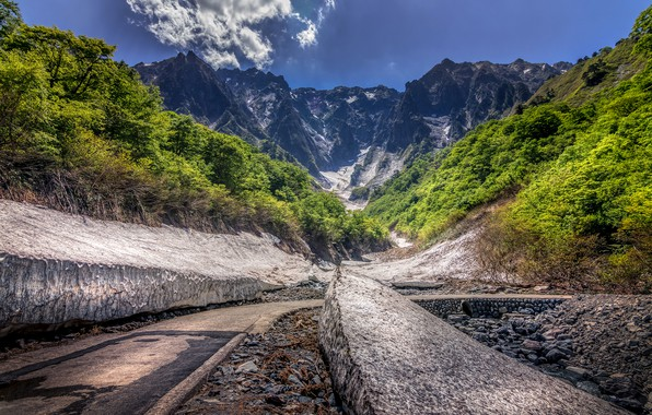 Picture forest, the sun, clouds, trees, mountains, stones, rocks, Japan, the bushes, Tanigawa