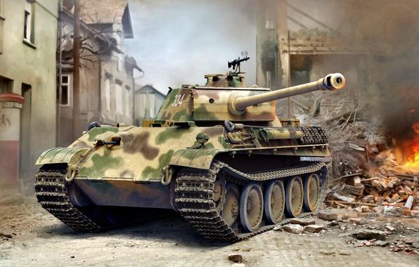 Picture fire, smoke, brick, the ruins, tank, late, average, Panther Ausf.G, MG 34, Anti-aircraft machine gun