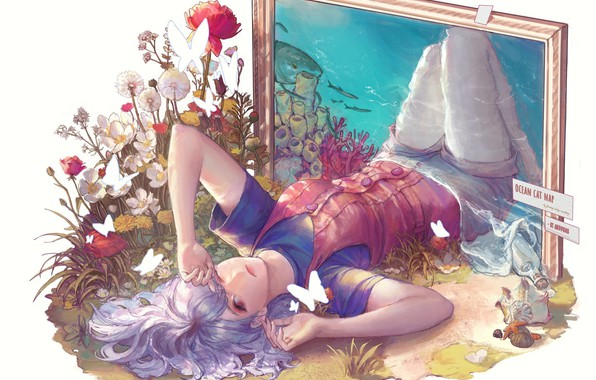 Picture girl, butterfly, flowers, the ocean, shark, picture, frame, art