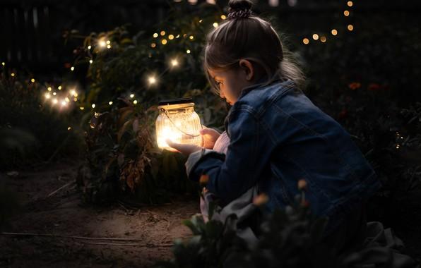Picture fireflies, lights, girl, Bank