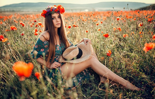 Picture field, look, girl, the sun, flowers, nature, pose, model, Maki, portrait, hat, barefoot, makeup, dress, ...
