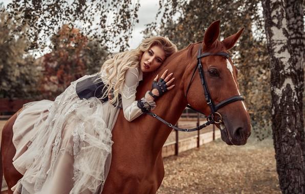 Picture girl, pose, horse, horse, dress, rider, Maxim Clip