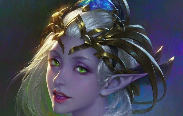Picture look, background, fantasy, art, profile, elf