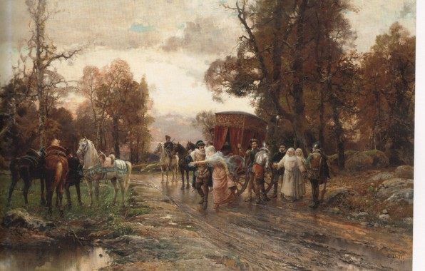 Picture road, puddles, coach, knights, carts, nuns, SAID