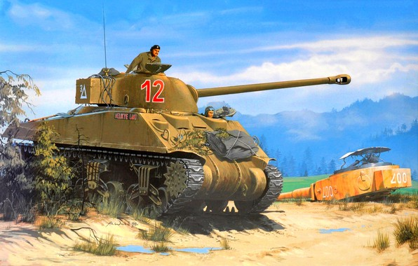 Picture Sherman, British Army, WWII, Tankers, Sherman Firefly Vc
