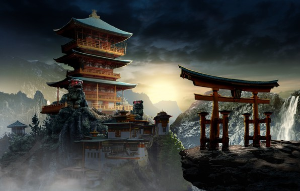 Picture Mountains, Palace, China, Asia, The building, Landscape, Arch, Architecture, Art, Concept Art, Mysterious Temple, by …
