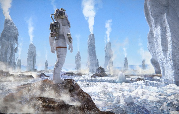 Picture rocks, landscape, astronaut, Valley of Geysers, Europa (moon)