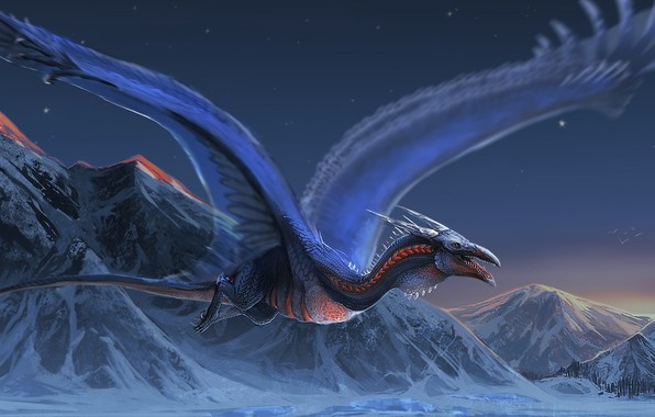 Picture mountains, dragon, wings, flight
