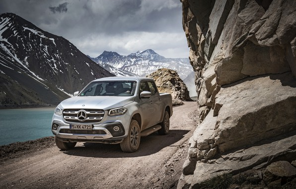 Picture road, mountains, Mercedes-Benz, dust, pickup, 2017, X-Class