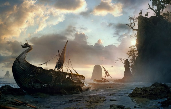 Picture ship, Painting, Spikeroog, Vladimir Manyukhin, the rocky cliffs