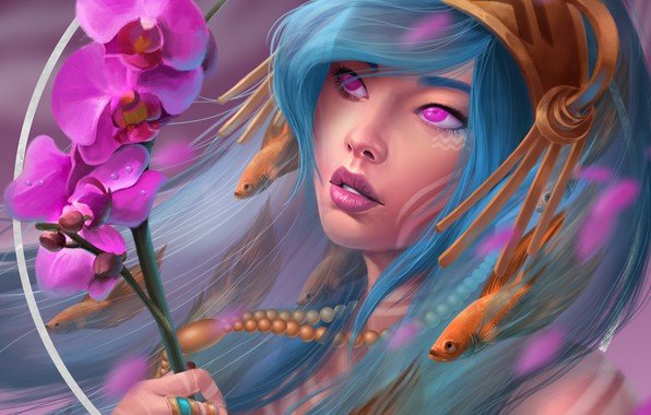 Picture flowers, drawings, orchids, by Ataraxicare