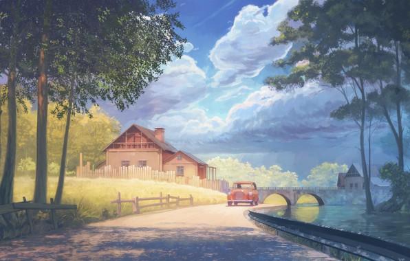 Picture road, machine, water, trees, bridge, home