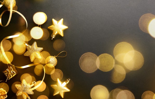 Picture decoration, balls, New Year, Christmas, golden, black background, black, Christmas, balls, gold, bokeh, New Year, …