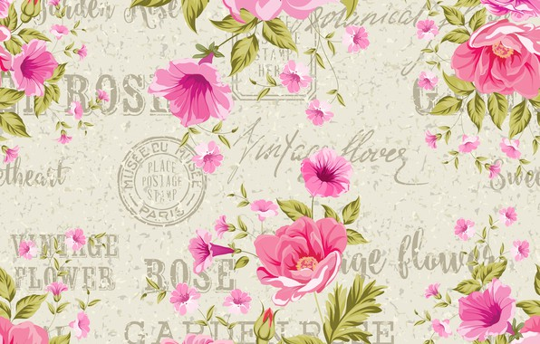 Picture flowers, background, roses, vintage, composition