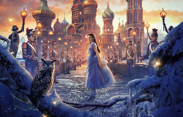 Picture girl, snow, bridge, owl, bird, fantasy, soldiers, poster, Palace, owl, Walt Disney, Mackenzie Foy, Mackenzie ...