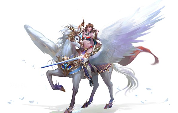 Picture horse, the game, wings, warrior, art, pers, MMORPG, driving, Free Game, Browser Game
