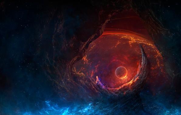 Picture space, fire, fantasy, end, Planet, nebula, galaxy, digital art, artwork, fantasy art, ruin, destruction