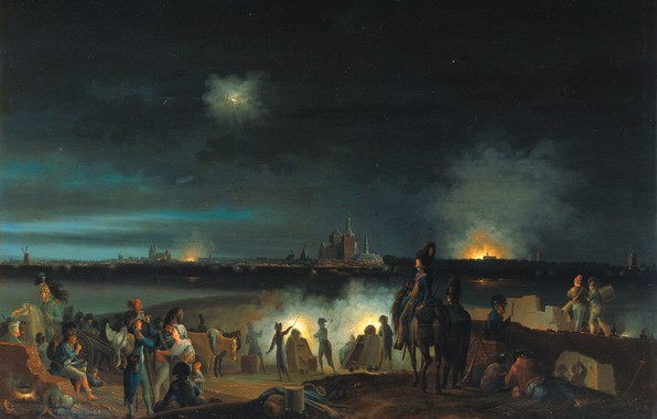 Picture oil, picture, 1800, Joseph August Knip, The shelling of ' s-Hertogenbosch by the French during …